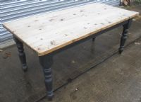 Large Pine Kitchen Dining Table with Painted Base